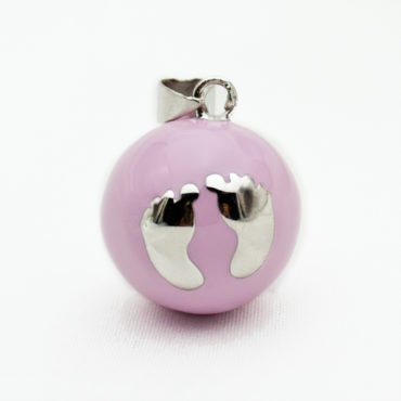 Emaillierte Klangkugel rosa mit versilberten Babyfüßen