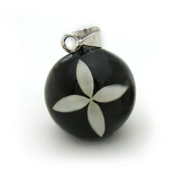 Emaillierte Klangkugel schwarz mit weißer Blume