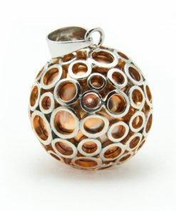 Vergoldetes Schwangerschaftsbola (Rosa) mit versilberten Kreisen