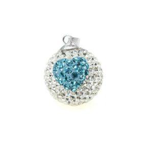 zwangerschapsbelletje kristal aquamarijnen hart