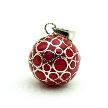 Schwangerschaftbola Rot mit versilberten Kreisen