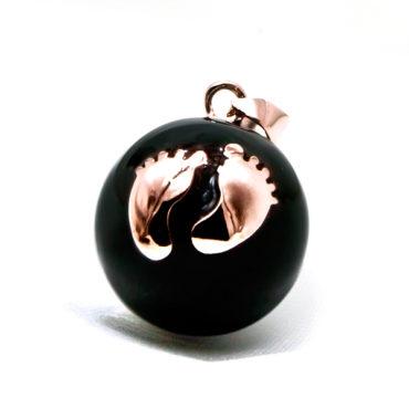 zwangerschapsbelletje zwart vergulde voetjes