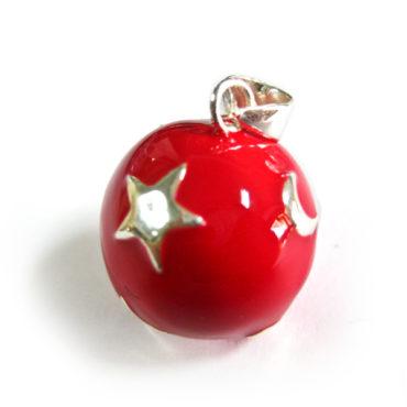 Emaillierte Bola Rot mit Mond und Sternen