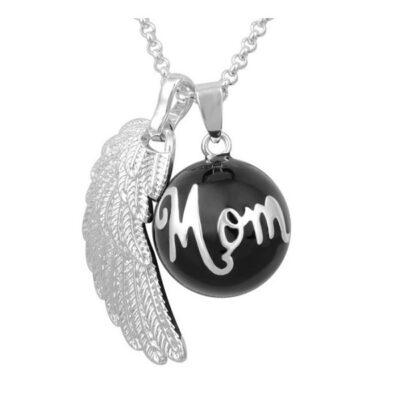 Zwangerschapsketting met verzilverde mom + vleugel